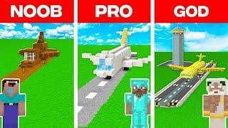 Minecraft NOOB vs PRO vs GOD: AIRPLANE BUILD CHALLENGE in Minecraft (Animation)