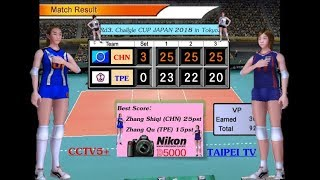 Rd3. China vs Taiwan - Volleyball Women's Challgle CUP JAPAN 2018.