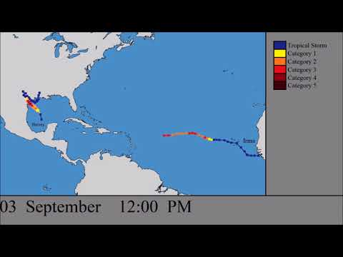 The Paths of Hurricanes Harvey and Irma: Every Six Hours