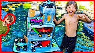 MONSTER TRUCK BOX FORT BOAT TRIPLE DECKER!