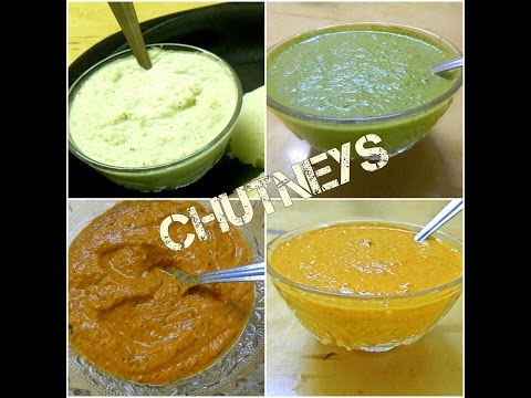 4 Different Yummy Chutney / Spicy Dips