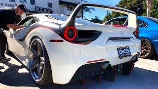 Беспредел на Ferrari 488 GTB 670 сил в Лос-Анджелесе! Вид как у F40 + занижение, выхлоп! Тест-обзор