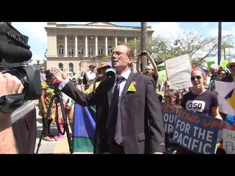 Tony Abbott attends Climate Change Rally