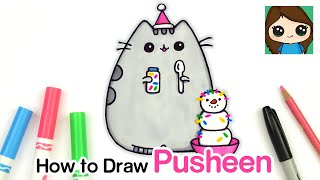 How to Draw Making a Snowman with Pusheen Cat
