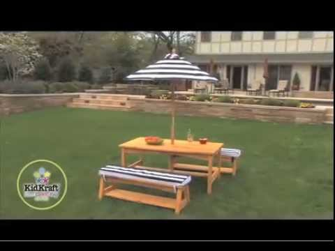 Kidkraft Outdoor Table U0026 Bench Set With Cushions U0026 Umbrella 00106