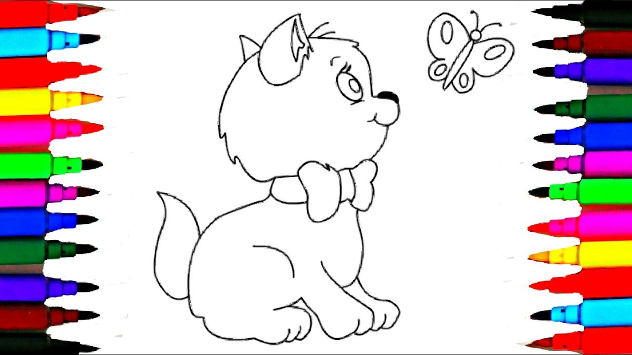 how to draw cat with butterfly coloring pages l kids songs learn