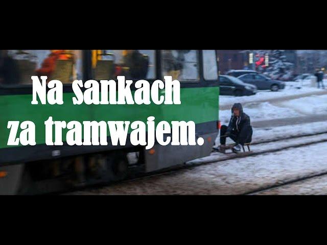 Na sankach za tramwajem - Elbląg