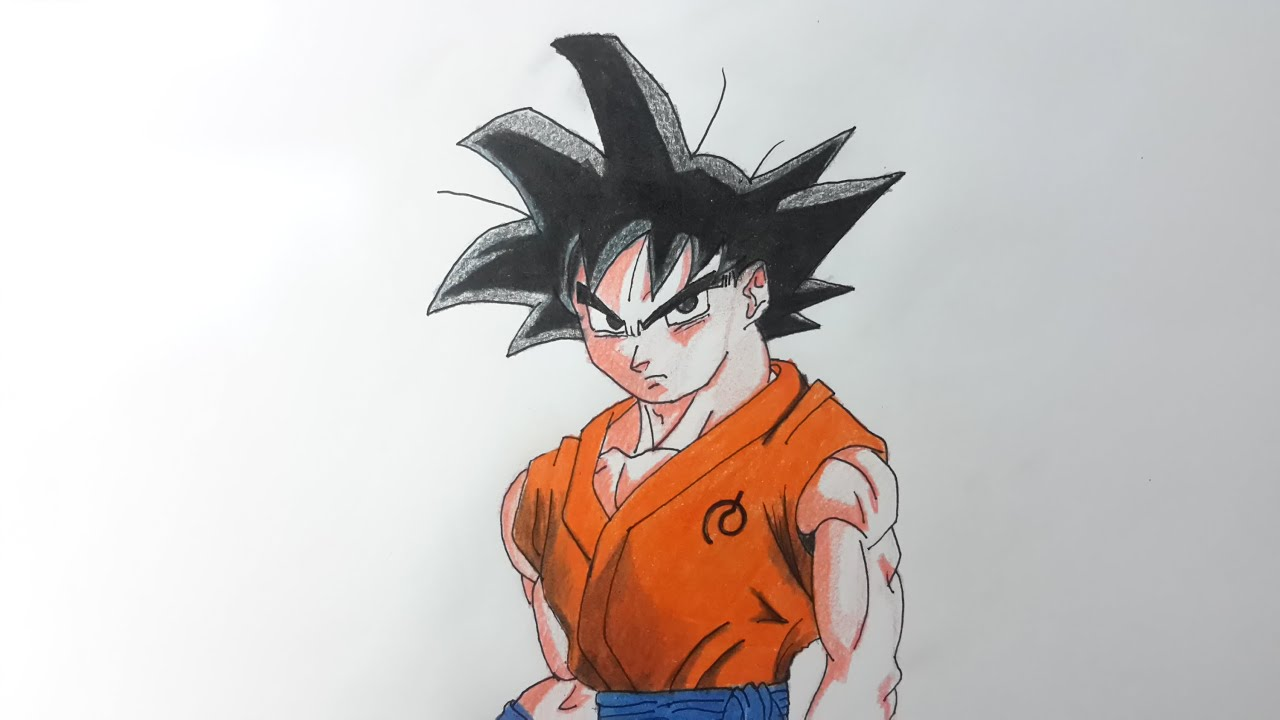 Como dibujar a Goku la resurreccin de Freezer paso a paso 2 El