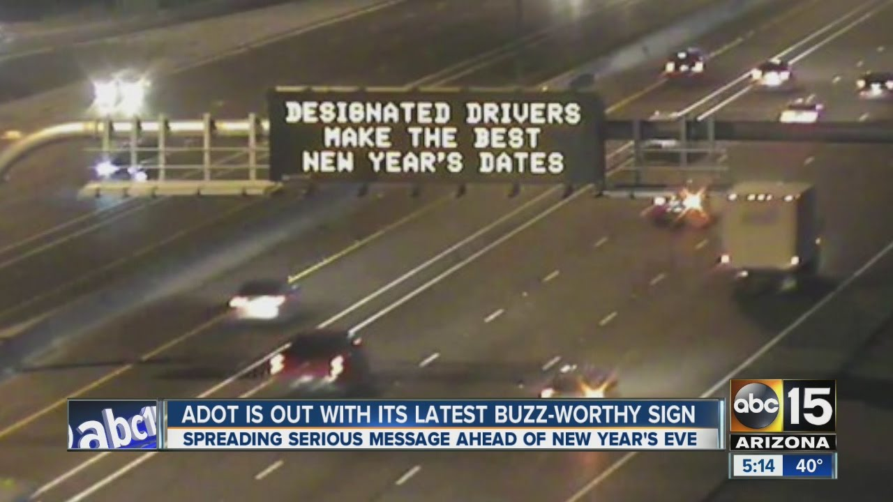 ADOT posts buzz-worthy New Year\'s Eve road signs - YouTube