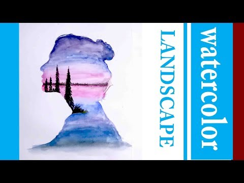 Landscape double Exposure painting | watercolor | drawing academy