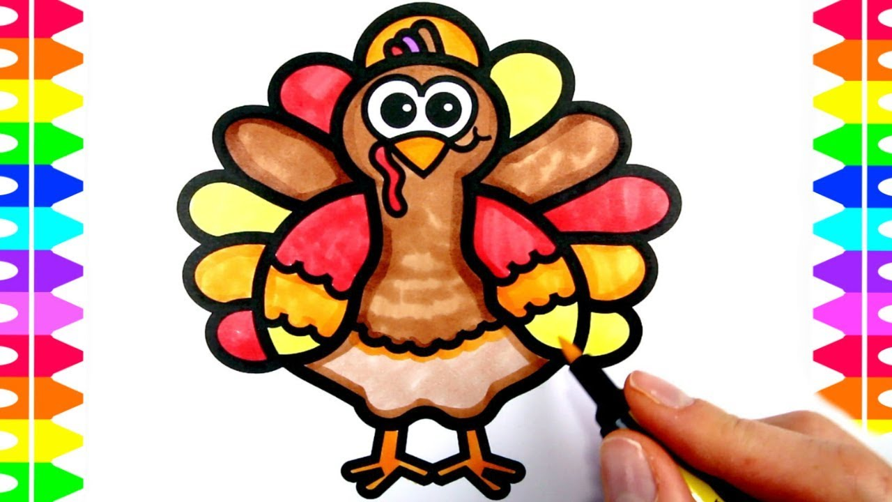 Happy Thanksgiving Coloring How To Draw A Cartoon Turkey Gobble Gobble Fun Coloring Pages Kids