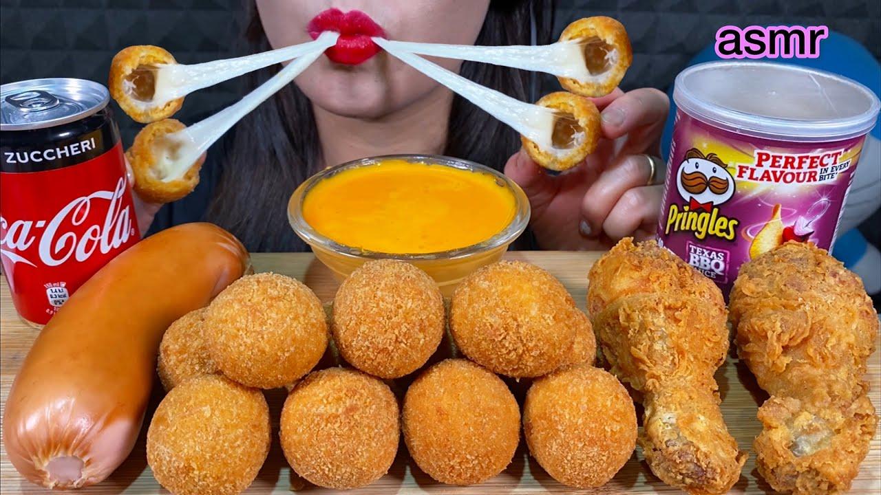 ASMR MOZZARELLA CHEESE BALLS, FRIED CHICKEN,JUMBO SAUSAGE, PRINGLES 먹방 MUKBANG MASSIVE Eating sounds