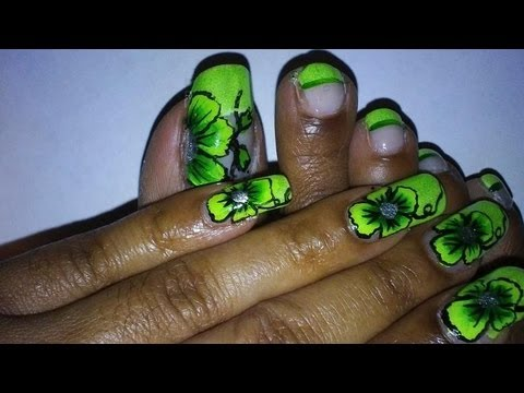 notw lime green floral nail art design  youtube