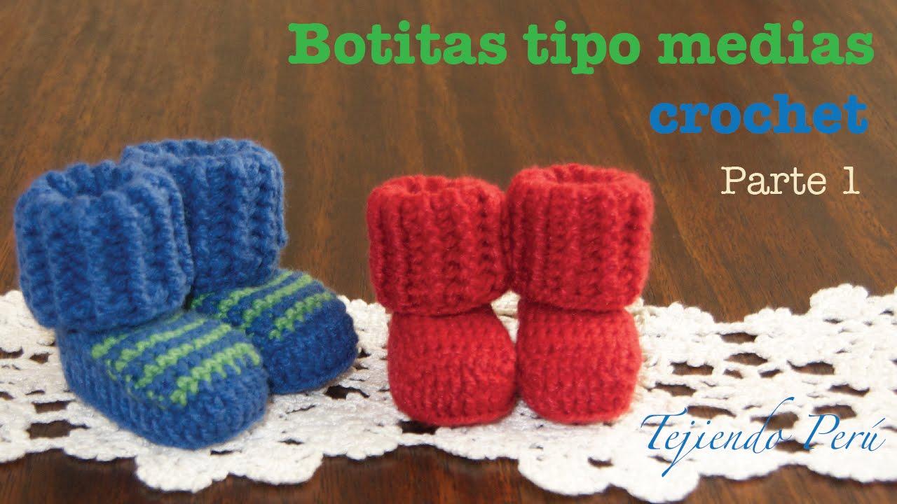 Botas tipo medias tejidas a crochet para bebes (Parte 1) - YouTube