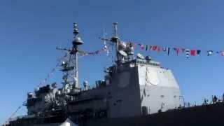 Close look at USS Cape St  George CG-71 is a Ticonderoga class cruiser