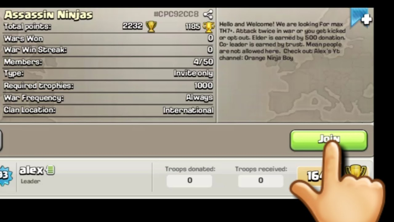 How To Get People To Join Your New Clan Clash Of Clans Youtube