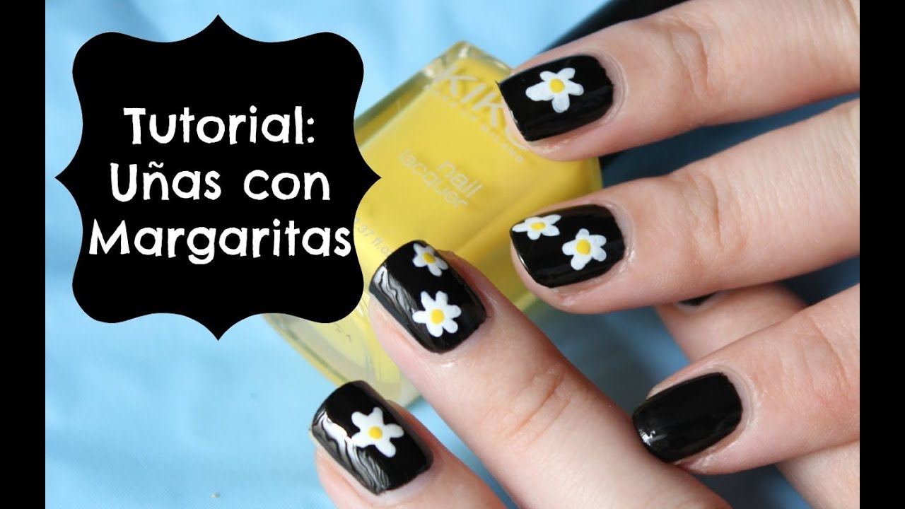 Uñas con Margaritas (tutorial SUPER FACIL) - YouTube