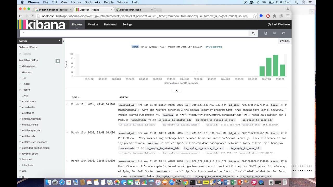 Feeding Twitter Monitoring Data into ElasticSearch using Logstash Plugin