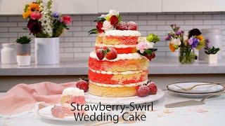 Strawberry-Swirl DIY Wedding Cake