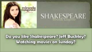 Shakespeare - Miranda Cosgrove with Lyrics on Screen