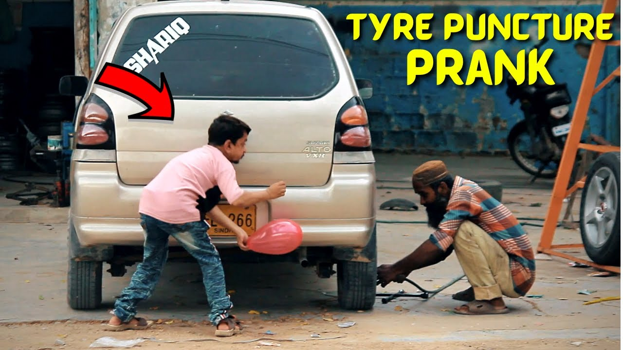 Tyre Puncture Prank - Funny Public Prank   New talent 2021