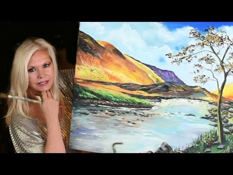 """Art Tutorial and Lesson On How to paint a Landscape - """"Mellow Yellow""""  Learn how to paint mountains thumbnail"""