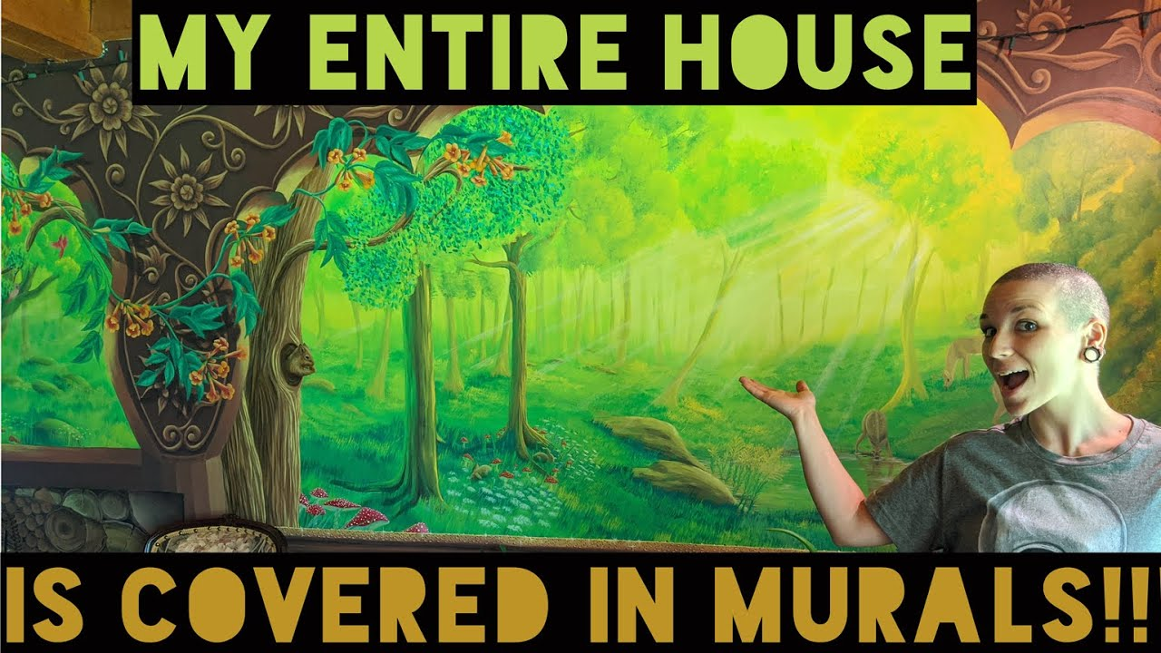 Virtual Art Gallery Tour- My AMAZING MURAL House- Art Walk#1