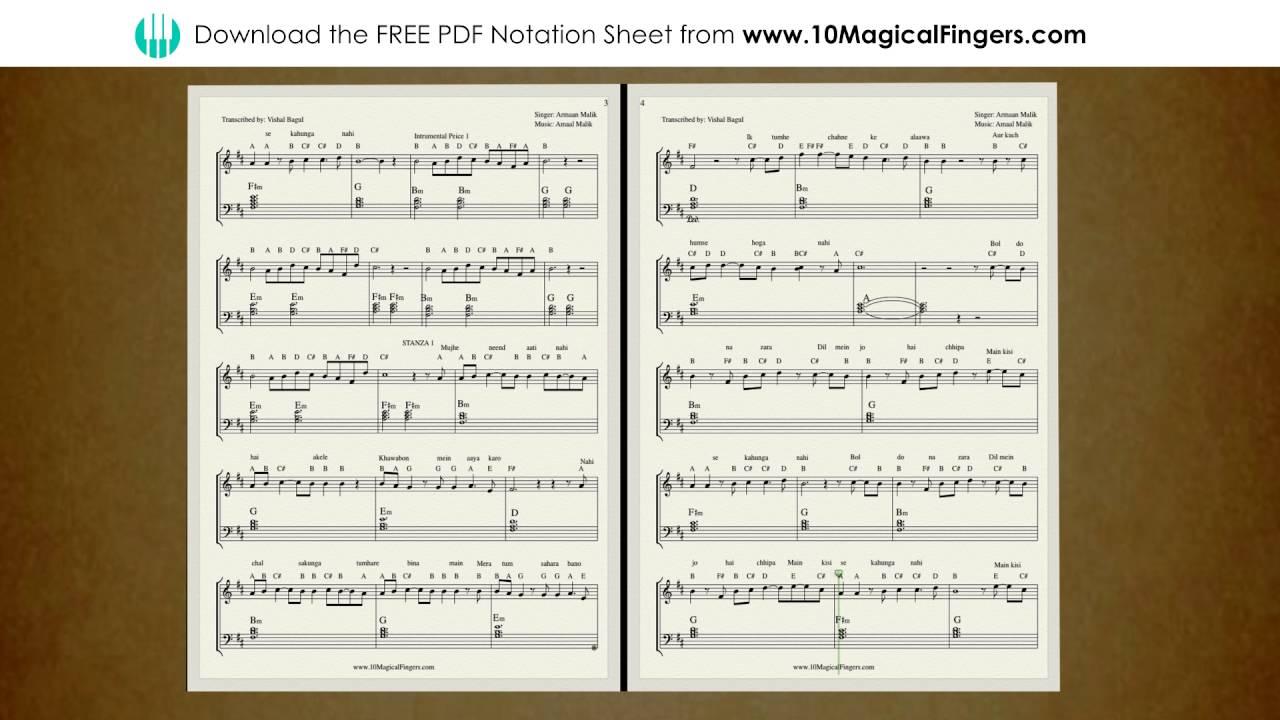 Bol do na zara piano staff notation sheet chords and abcd notes bol do na zara piano staff notation sheet chords and abcd notes 10 magical fingers youtube hexwebz Choice Image