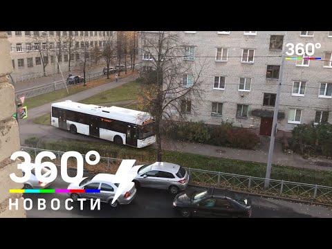 Водитель автобуса проехался по пешеходной дорожке в Ленинградской области