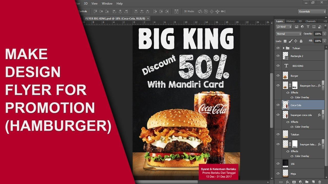 Cara Membuat Brosur Promosi Burger Dengan Photoshop Youtube
