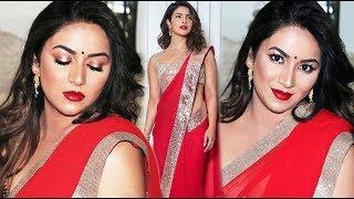Priyanka Chopra Inspired Look | Red Saree | Gold Halo Eyes