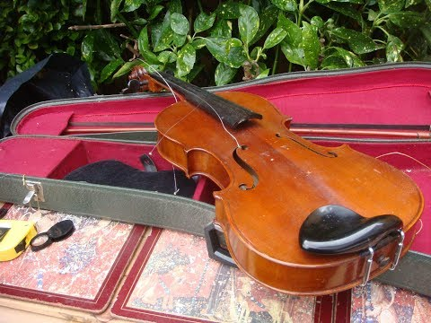 Violin  In Coffin   Case &  Bow for restoration or Repair Labeled  THE ESSEX