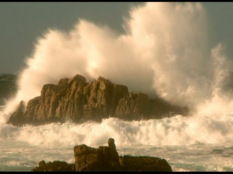 Relaxing Ocean Waves Crashing on Rocks - 1 hr- Ocean Sounds, Calming, Meditation, Mindfulness