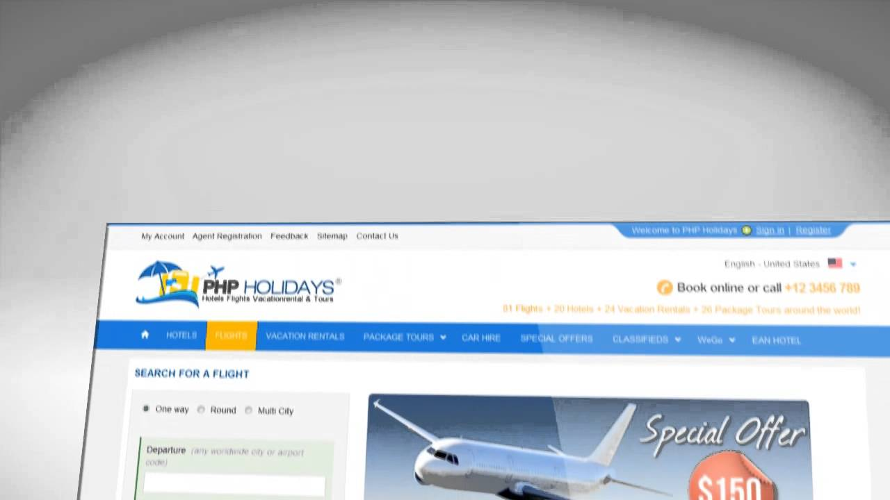 Eicra PhpHolidays - Travel Booking Web portal Software for agents