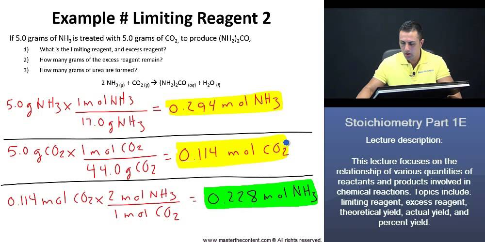 Dat Finding Limiting Reagent Excess Reagent