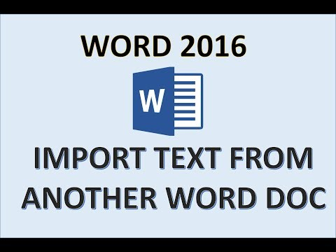 Word 2016 - Enter and Import Text