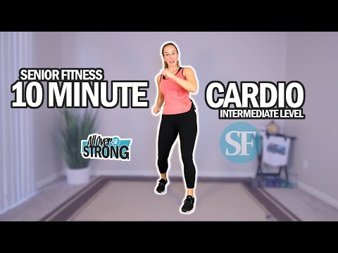 Senior Fitness - 10 Minute Low Impact Cardio Workout | Intermediate Level w/ Stretching At The End
