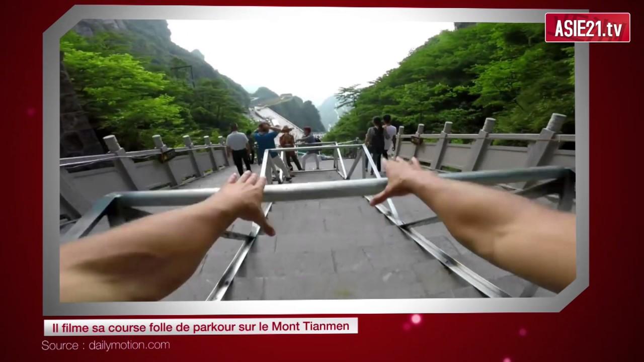 Il filme sa course folle de parkour sur le Mont Tianmen ...