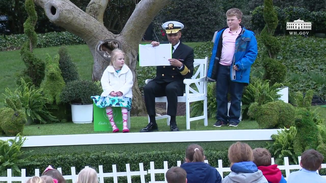 White House Easter Egg Roll: Reading Nook with Surgeon General Dr Jerome  Adams