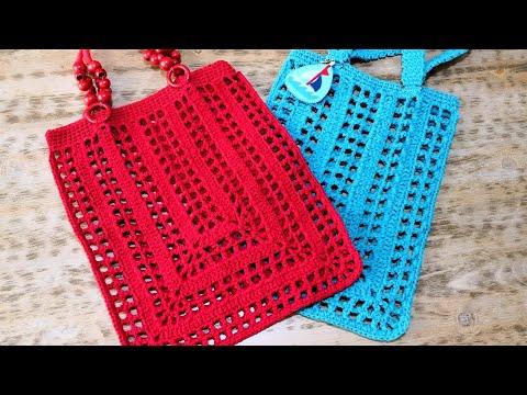 833d3a56faf7c Kolay File Alışveriş Çantası Yapımı / Crochet Rectangle Market Bag (Eng.  Subt.) - YouTube