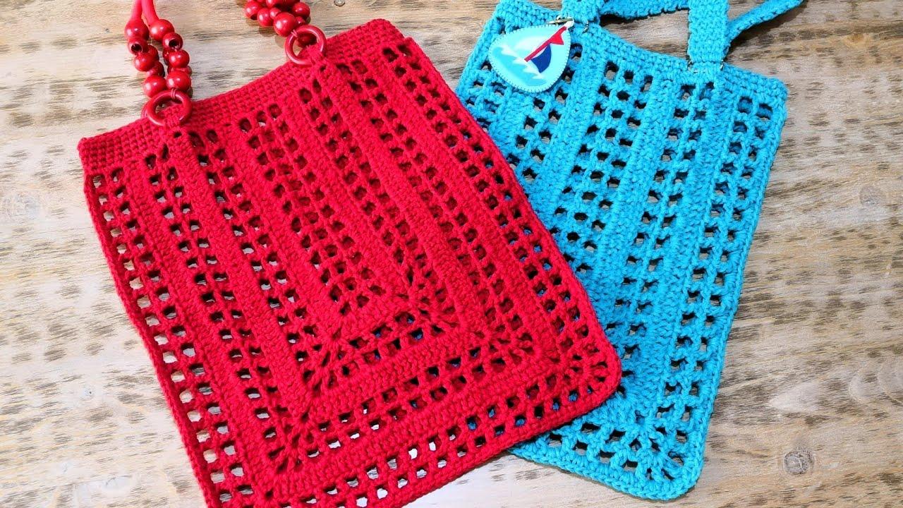 1d9172e4063ed Kolay File Alışveriş Çantası Yapımı / Crochet Rectangle Market Bag (Eng.  Subt.)