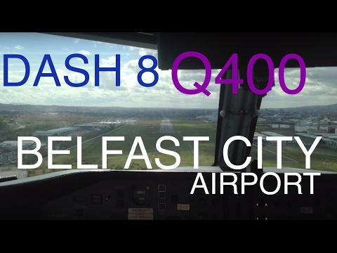 Q400 Belfast City Airport cockpit landing BHD / EGAC