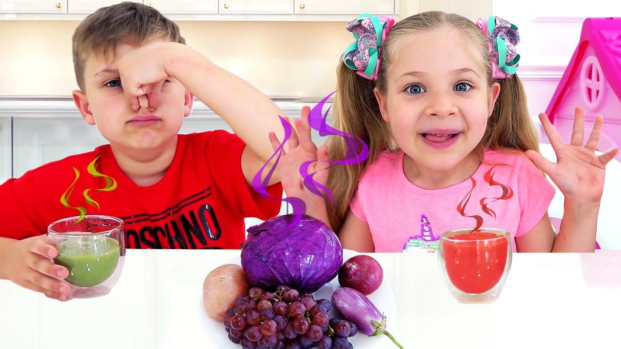 Diana e Roma Aprendem as Cores com Deliciosas Frutas e Legumes