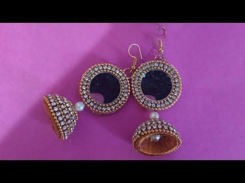 DIY    How To Make Designer Mirror Jhumka Earring    #SanPriArt #DIY