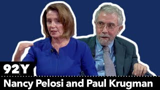 House Democratic Leader Nancy Pelosi talks with New York Times columnist Paul Krugman