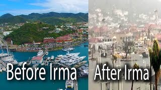 Marigot before and after Hurricane Irma, Saint Martin before Irma, Saint Martin after irma