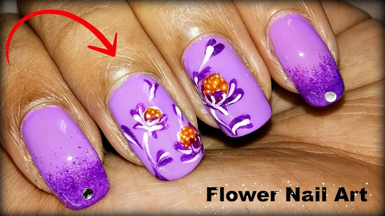 New Flower Nail Art Designs Tutorial Videos At Home - YouTube
