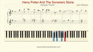 "How To Play Piano: ""Harry Potter And The Sorcerers Stone"" Hedwigs Theme John Williams"