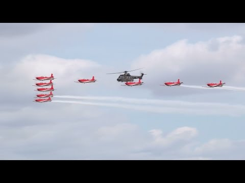 Swiss Air Force Super Puma and PC-7 Team at RIAT 18th July 2015