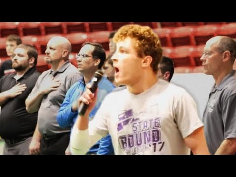 Lance Houston - High School Wrestler Steps Up to Sing National Anthem, Blows the Crowd Away